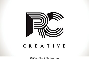 RC Logo Letter With Black Lines Design. Line Letter Vector...