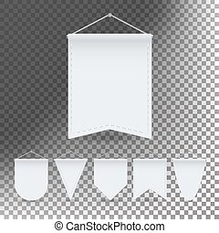 White Pennant Template Set Vector. Empty 3D Pennants Banners...