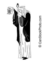 the hermit man - the illustration - with portrait of man -...