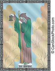 the hermit card - the illustration - card for tarot - the...