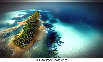 Small tropical island in Maldives atoll from aerial view 3d...