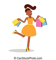 Young happy smiling woman in yellow dress standing with shopping bags cartoon character vector Illustration