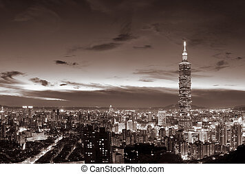 Cityscape of Taipei with famous 101 skyscraper and buildings...