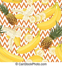 Seamless hand drawn tropical pattern with banana and...