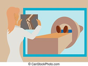 Doctor looking at results of patient leg scan on the screens in front of MRI machine with man lying down. Flat vector illustration
