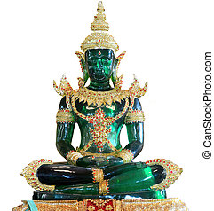 Emerald stone statue isolated