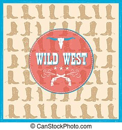 Wild West card with cowboy boots decoration