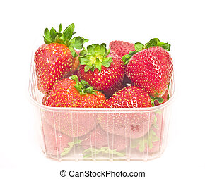 package - big strawberries in plastic package