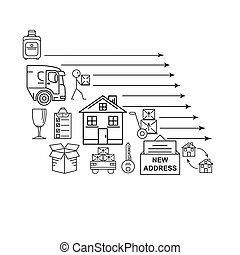 Line art icon infographic set for Moving. Thin line art...