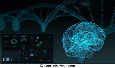Futuristic Interface. Brain HUD and plexus. DNA technology