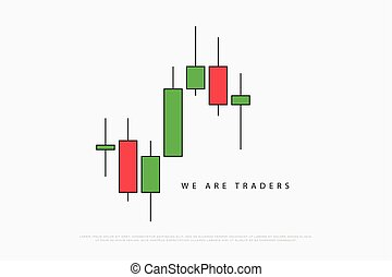 we are one - stock chart logotype with japanese candles...