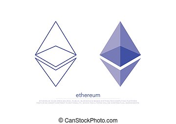 ethereum - set of isolated ethereum icons. vector,...