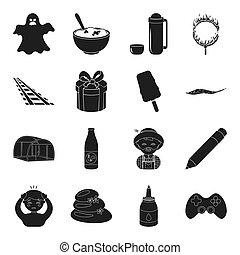 game, magic, illness and other web icon in black...