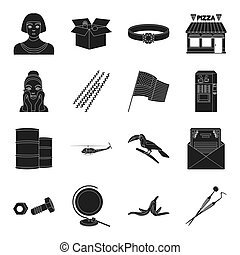 Egypt, care, office, army, partyand other web icon in black style. dentistry, sports, equipment, decorations