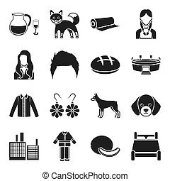 alcohol, animal, style and other web icon in black style. clothing, architecture, atelier, department icons in set collection.