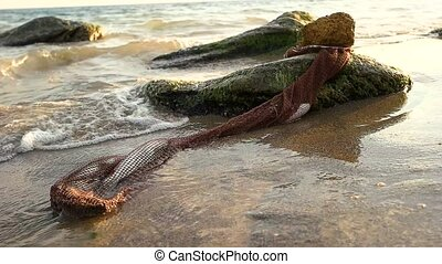 Net with fish on seashore. Water and stones. Sea fishing...