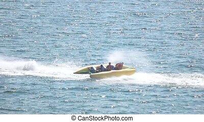 Flying banana boat, jet ski.