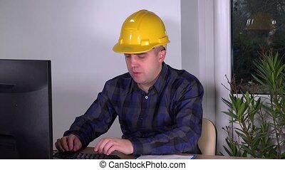 successful construction supervisor realtor in office doing...