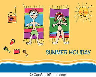 Vector Illustration Young Couple Lying on a Beach - Vector...