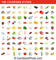 100 cooking icons set, isometric 3d style - 100 cooking...