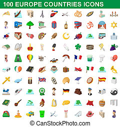 100 europe countries icons set, cartoon style - 100 europe...