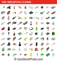 100 weapon icons set, isometric 3d style - 100 weapon icons...