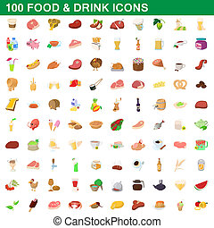 100 food and drink icons set, cartoon style - 100 food and...