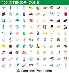 100 interior icons set, cartoon style - 100 interior icons...