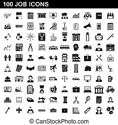 100 job icons set, simple style - 100 job icons set in...