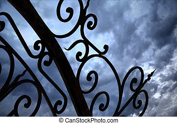 Wrought iron gate - Close up of a wrought iron gate and...