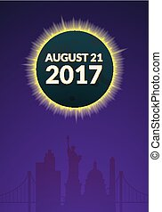 Eclipce vector illustration - Total solar eclipse in USA...