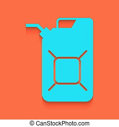 Jerrycan oil sign. Jerry can oil sign. Vector. Whitish icon...