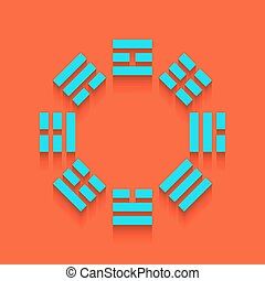 Bagua sign. Vector. Whitish icon on brick wall as...