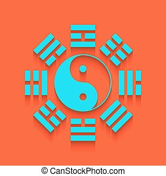 Yin and yang sign with bagua arrangement. Vector. Whitish...