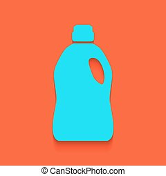 Plastic bottle for cleaning. Vector. Whitish icon on brick...