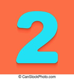 Number 2 sign design template elements. Vector. Whitish icon on brick wall as background.