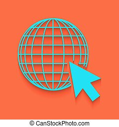 Earth Globe with cursor. Vector. Whitish icon on brick wall as background.