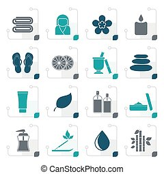 Stylized Spa objects icons