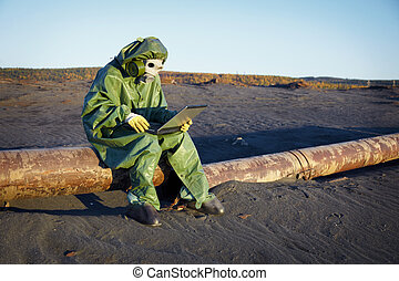 Environmental scientist in ecological disaster zone