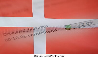 Downloading files on a computer, Denmark flag - Downloading...
