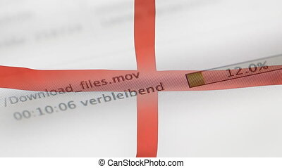 Downloading files on a computer, England flag - Downloading...
