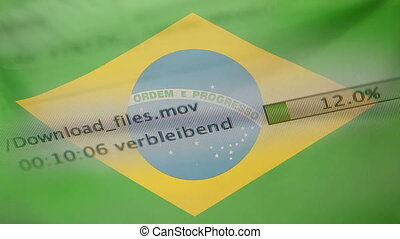 Downloading files on a computer, Brazil flag - Downloading...