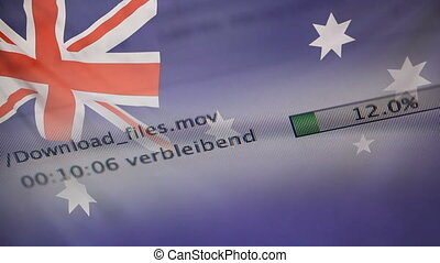 Downloading files on a computer, Australia flag -...