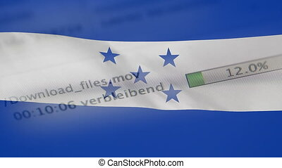 Downloading files on a computer, Honduras flag - Downloading...