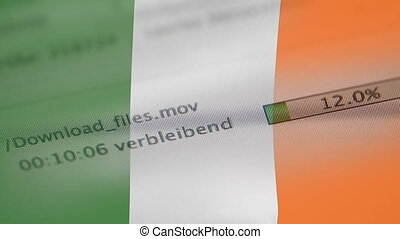 Downloading files on a computer, Ireland flag - Downloading...