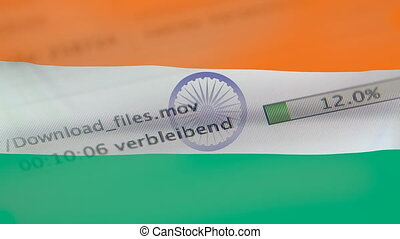 Downloading files on a computer, India flag - Downloading...