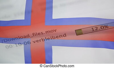 Downloading files on a computer, Faroe Islands flag -...