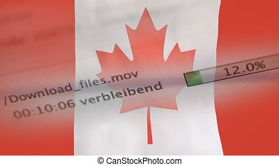 Downloading files on a computer, Canada flag - Downloading...