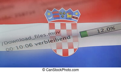 Downloading files on a computer, Croatia flag - Downloading...