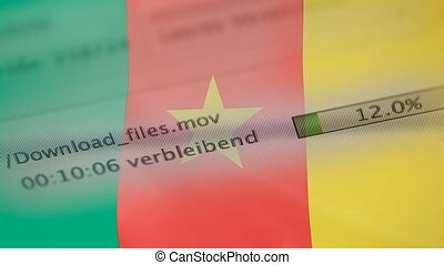 Downloading files on a computer, Cameroon flag - Downloading...